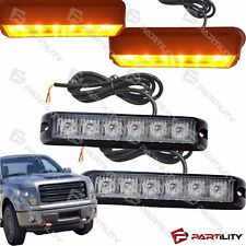 2x 6 LED Amber Warning Emergency Grill Marker Strobe Flash Light Truck Yellow
