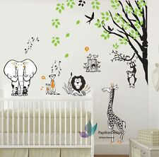 Jungle animaux (lion, éléphant, singe, girafe) arbre baby nursery wall decal sticker