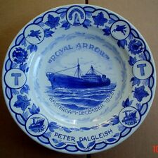 Superb Delft Hanging Wall Plate ROYAL ARROW AMSTERDAM DECEMBER 1953