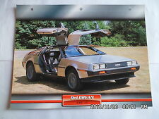 CARTE FICHE VOITURES D'EXCEPTION DELOREAN DMC 12