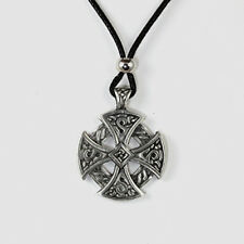 Celtic Cross Necklace Black Cord Tribal Pewter Pendant Knot Antique Style