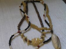 Vintage Hippie Lot of Cream Cord with Seashell Pendant Brown Wood Bead Seashell