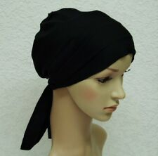 Headscarf for hair loss, chemo hat, black tichel, head snood, surgical cap