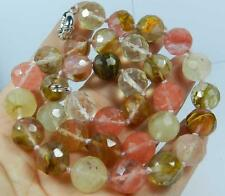 10mm Faceted colorful Watermelon Tourmaline Gem Necklace 18""