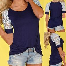 Summer New Fashion Womens Loose Tops Lace Short Sleeve T Shirt Casual Blouse Tee
