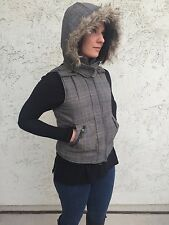 Heritage 1981 Plaid Winter Vest with Faux Fur Lined Hood Grey/Blue Womens Jacket
