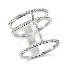 ABSOLUTE 0.42 CT STERLING SILVER 3-ROW NEGATIVE SPACE WIDE BAND RING SIZE 6 HSN