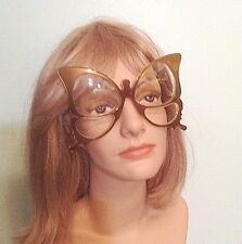 Rare Vtg Anglo American Oversize Warm Gold Butterfly Frame Eyeglasses England