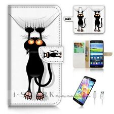 Samsung Galaxy S5 Flip Wallet Case Cover! S8926 Funny Cat