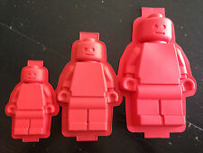 3 Large Lego Men Minifigure Silicone Jelly Cake Pan Baking Tray Mold Mould Party