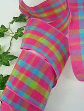 "Hot Pink Turquoise Green Plaid 2 1/2"" Wired Edge Ribbon 10 Yards Bows Boutique"