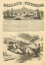 New Year Baby, Father Time, Reindeer, Sleigh, Vintage, 1856 Antique Art Print,