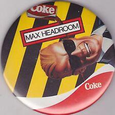 """VINTAGE 3"""" PINBACK #D9-056 - SODA ADVERTISING - COCA-COLA - MAX HEADROOM"""