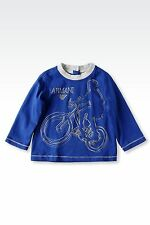 NWT NEW Armani Junior baby boys royal blue bike print tee shirt grey trim 9m 12m