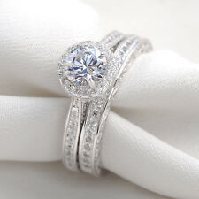 2.50 Ct Round Cut White CZ 925 Sterling Silver Wedding Ring Set Women's Size 7