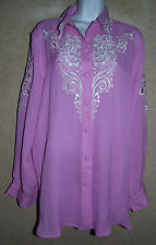 Lovely Purple Bob Mackie Wearable Art Silk LS Blouse w/White Embroidery - L