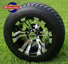 "GOLF CART 10"" MACHINED VAMPIRE WHEELS/RIMS and 205/50-10 DOT LOW PROFILE TIRES"