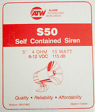 """ATW S50 SELF CONTAINED SIREN 5"""" 4-OHMS 15W 6-12VDC 115DB (WHITE)"""