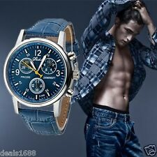 Fashion Mens Date Leather Military Sport Quartz Stainless Steel Wrist Watch Gift