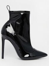 Asos Pvc Patent Heeled Ankle Stiletto Sock Boots