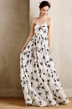 Anthropologie Tracy Reese Black White Beaded Hibiscus Gown-4