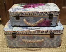 2  Wooden Storage Vintage Chic Suitcases Shabby Trunks Flower Butterflies