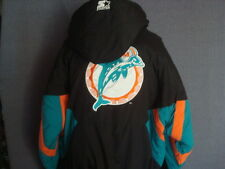 VINTAGE MIAMI DOLPHINS THROWBACK PUFFY PARKA STARTER JACKET XL RARE NICE!