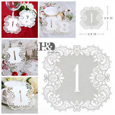 Ivory Shimmer Laser Cut Table Number Cards 1-10 Wedding Supplies Centerpiece