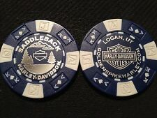 "Harley Davidson Poker Chip (Blue & White) ""Saddleback"" Logan,Utah"
