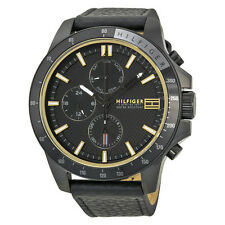 Tommy Hilfiger Jace Multi-Function Black Dial Black Leather GMT Mens Watch