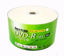 100 Blank SKYTOR DVD-R DVDR 16X White Inkjet Printable 4.7GB Recordable Disc
