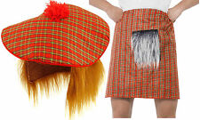 Tartan Hat Ginger Hair Wig Tam O Shanter and KILT + Sporran Scottish Fancy Dress