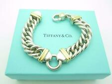 Chunky Vintage Tiffany & Co. Sterling Silver 18k Gold Italy Chain Link Bracelet