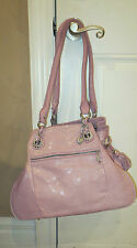 JUDITH RIPKA MULBERRY / AMETHYST STINGRAY EMBOSSED LEATHER SATCHEL