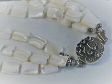 """Vintage 17.5"""" Three Strands Sterling Silver Mother of Pearl Beads Necklace"""
