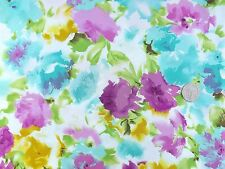 Modern flowers turqoise pink yellow green dress fabric 1 metre F1774 100% Cotton