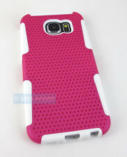 FOR SAMSUNG GALAXY S 6 S6 PINK WHITE PERFORATED NET HYBRID CASE PHONE COVER