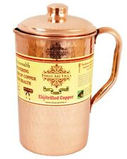 Handmade Hammered Pure Copper Jug Pitcher storage health Water Yoga Ayurveda