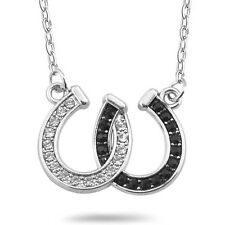 Women Lady Rhinestone Double Horse Hoof Horseshoe Pendant Necklace Chain Fashion
