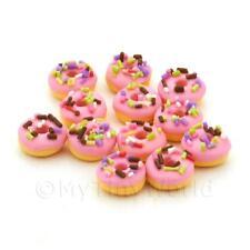 10 Muñecas en miniatura rasbery Rosa Helado Donut Con Copos
