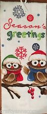 Kitchen Towel Happy Time Critters Owls Seasons Greetings Woodland Christmas Owl