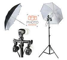 Continuous Lighting 3 Bulb Holder & Black White Umbrella - Photography Studio