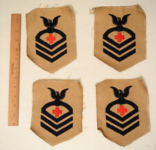 Lot of 4 Rare Original WWII USN CPO Khaki First Aid Corpsman Pharmacists Patches