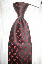$165 CHARVET PARIS PLACE VENDOME SILK TIE BLACK/RED REINDEER PATTERN NEW