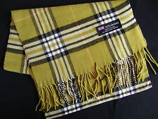 100% Cashmere Winter Scarf Scarve Scotland Plaid Check Olive Green Black White