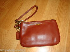NWT NEW COACH Small leather Wristlet wallet BROWN COGNAC #48179