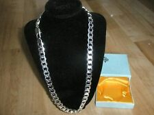 60cm 12mm Stirling Silver Plated Traditional Curb Chain Necklace Men's Gift+Box