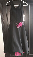 RUBY ROX Women's Black with Fuschia Tulle Fitted Flare Dress Size 3 NEW w TAGS