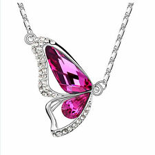 Fashion Crystal Butterfly Pendant Necklace Silver Plated Chain Jewelry Gift