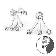 Sterling Silver Crystal Curved Cuff Crawler Stud Earrings Gift Boxed - NEW